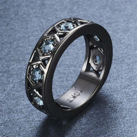 Aquamarine Wedding Eternity Ring Band Black Gold Filled