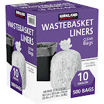 Kirkland Signature 10-Gallon Wastebasket Liner, Clear, 500-count
