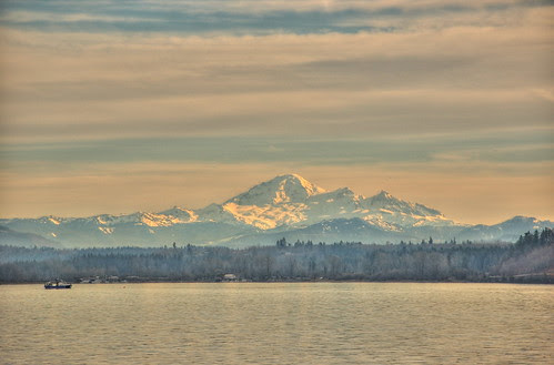 Mt. Baker from the Fraser River HDR