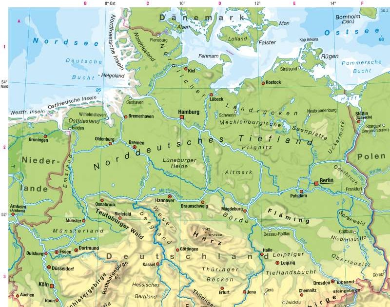 Deutschland Physische Karte   Karte