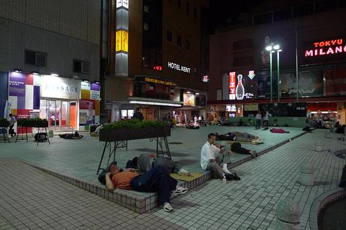 People sleeping at Kabuki-cho