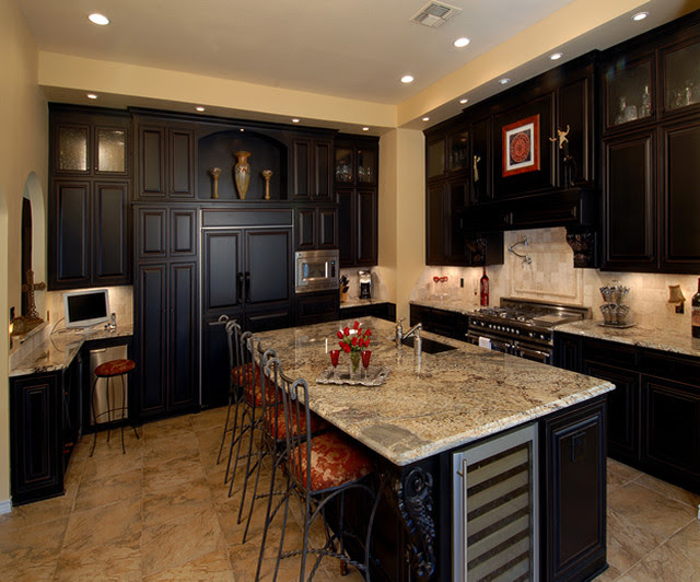 Espresso Finish Custom Cabinets - Traditional - Kitchen ...