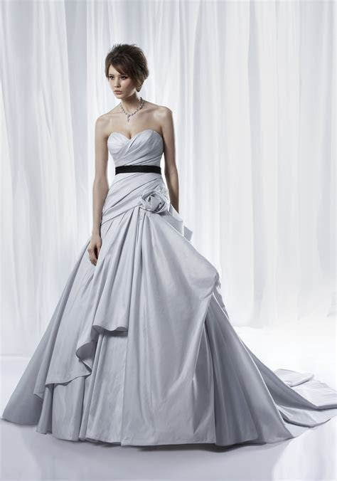 Non white dove grey ballgown wedding dress with modern
