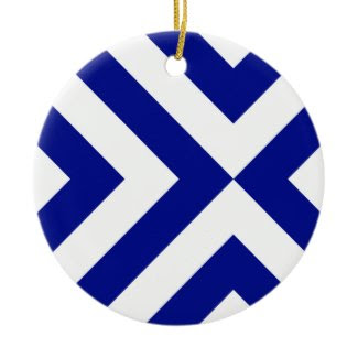 Blue and White Chevrons Christmas Ornament