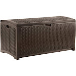 Suncast Wicker Resin Deck Box, Mocha
