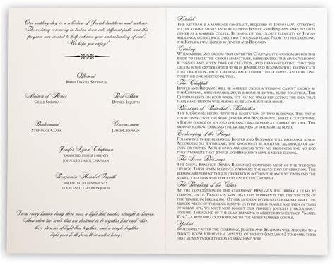Jewish Wedding Programs with Jewish wedding traditions and