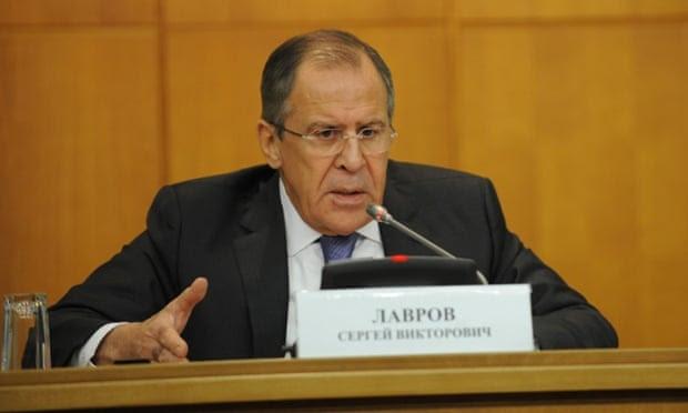 Sergei Lavrov numa conferência de imprensa em Moscou