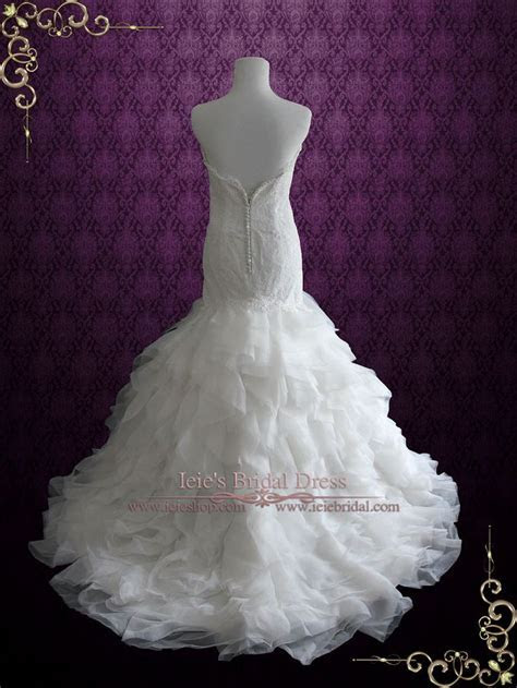 Strapless Lace Mermaid Wedding Dress with Organza Ruffle