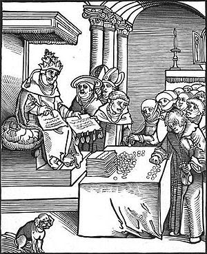 woodcut of the pope selling indulgences, from ...