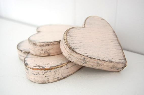 wooden hearts shabby chic pink cottage decor style wedding decor