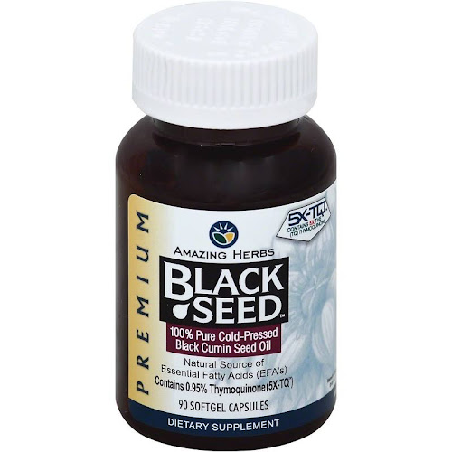 Amazing Herbs Cold-Pressed Black Seed Oil, 500 mg, Softgels - 90 count