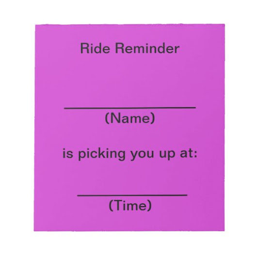 Ride Reminder Notes (Bright Purple)
