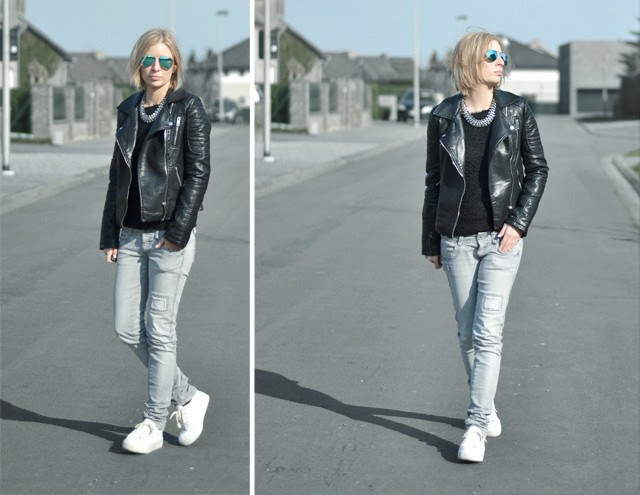 ray ban aviator blue mirror zara double breasted leather jacket 2014 spring summer collection h&m fluffy jumper h&m statement necklace bershka skinny grey striped jeans asos dino flatform platform sneakers outfit post fashion blogger turn it inside out belgium streetstyle