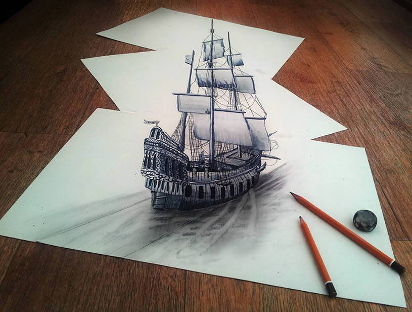 3D Ship Drawn on Three Flat Sheets of Paper by Ramon Bruin drawing boats anamorphism 3d