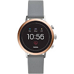 Fossil Women's Gen 4 Venture HR Two Stainless Steel and Leather Touchscreen Smartwatch - 40mm - Rose Gold - Gray Silicone Strap
