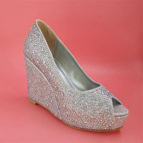 Silver Wedding Shoes Wedges Heel Rhinestone Open Toe 2015