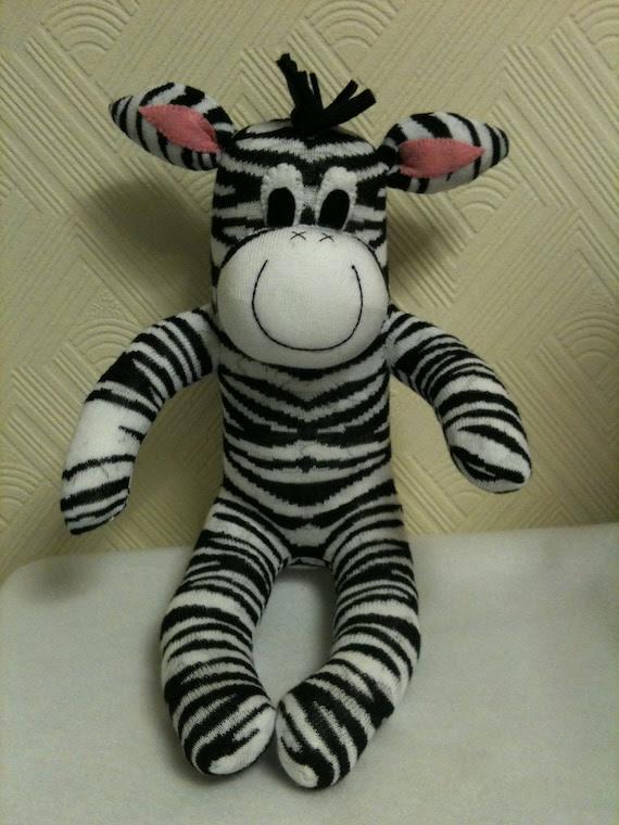 Sock Zebra, Sock Animal, Plush, Sock Sculpture