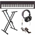 Yamaha P45B Digital Piano with Keyboard Stand, Headphones, and Sustain Pedal