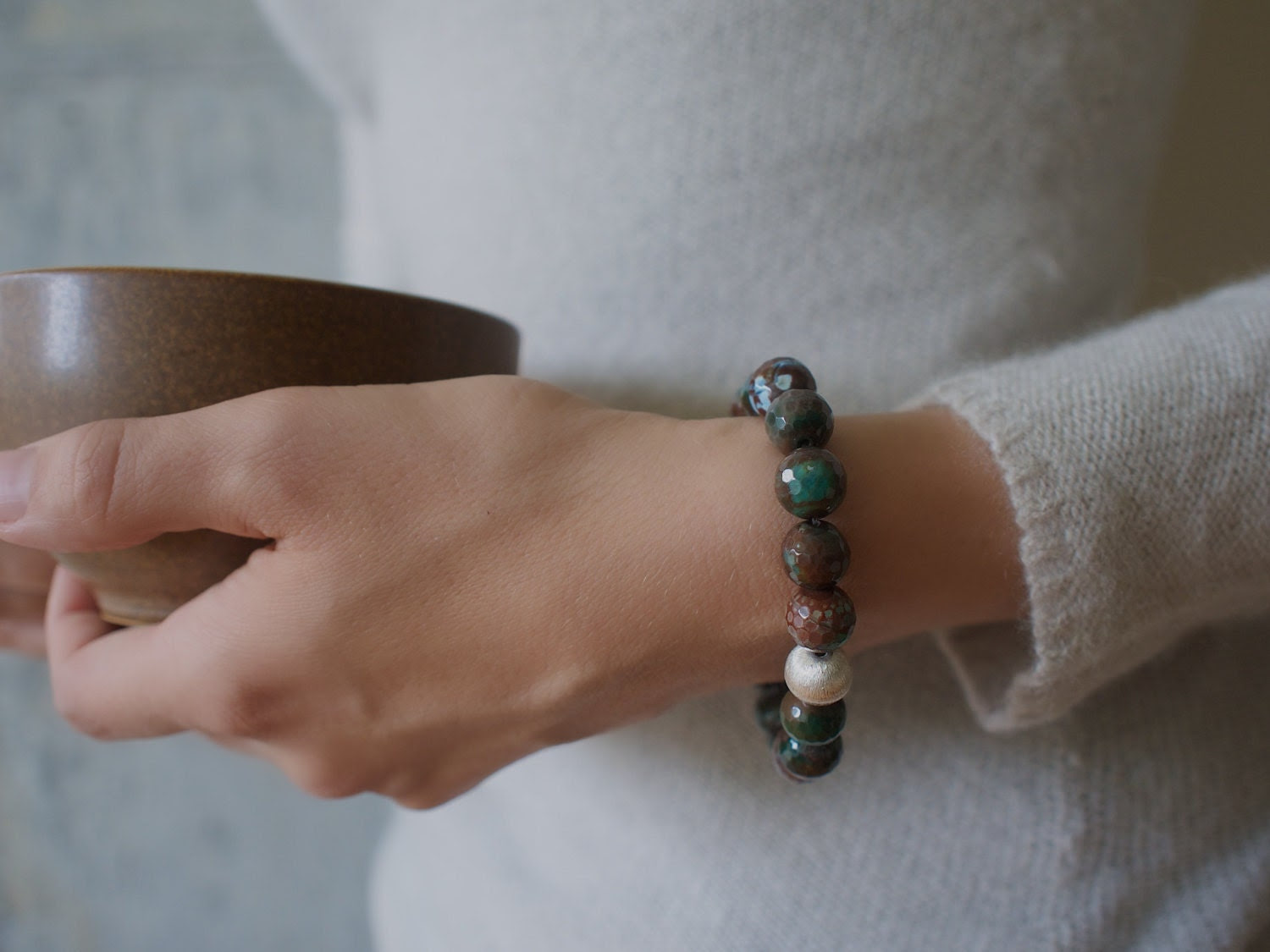 deep green and rich brown faceted agate bracelet with lined sterling silver focal stone.  moss and chestnut. autumn trends. - stonesartisanjewelry