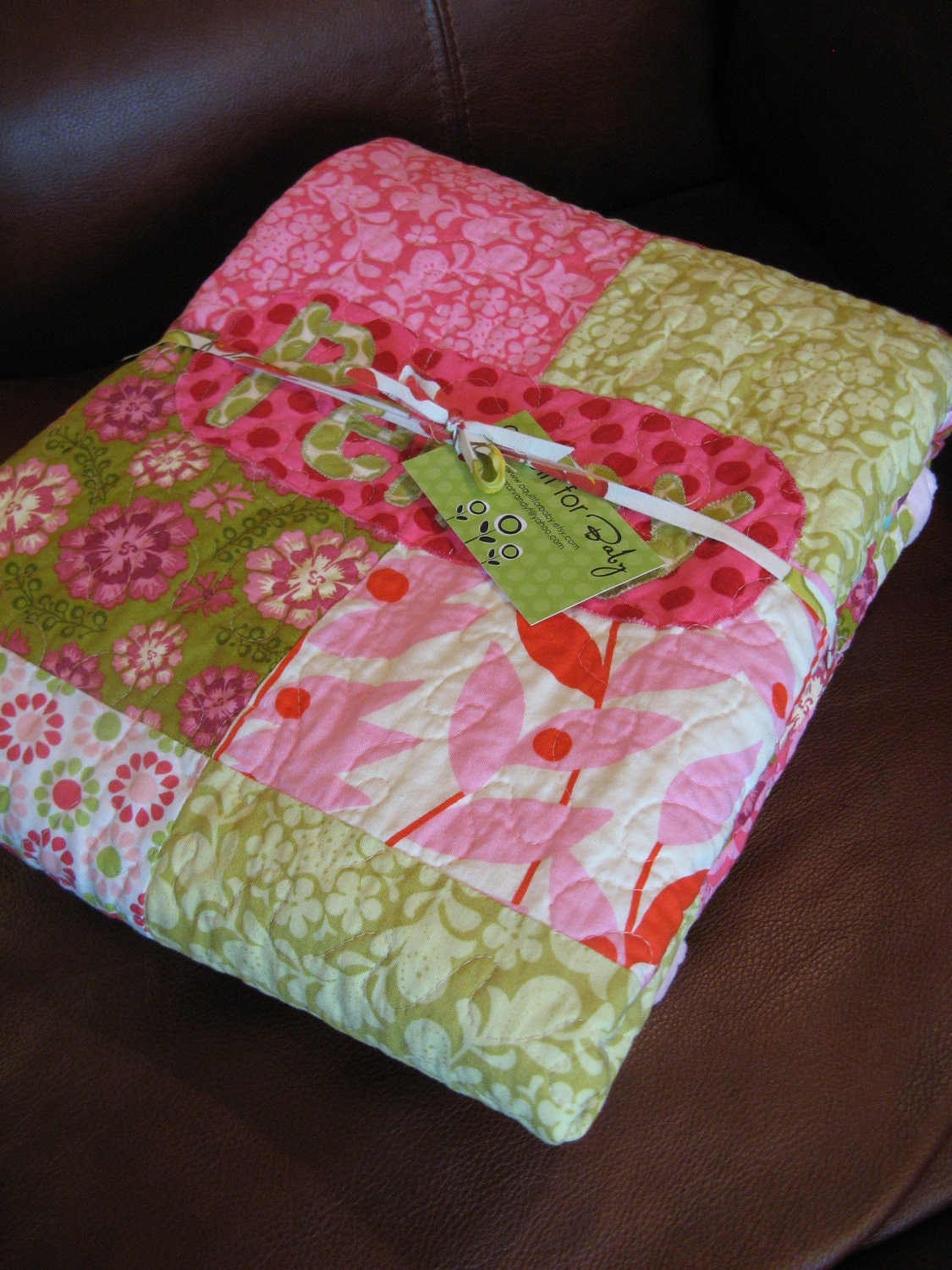 Custom Fresh Flowers Baby Quilt - Handmade and Personalized