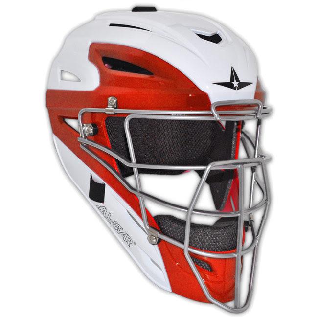 All Star White Two Tone Catchers Helmet Mvp2510wtt Youth