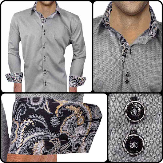 Mens Designer Dress Shirt : Grey with Black Paisley