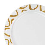 "Kaya Collection 10 Plates, 7.5"" White with Gold Luna Rim Plastic Appetizer/Salad Plates"