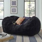 Large Bean Bag Sofa Three Posts Teen Fabric: Black Microfiber