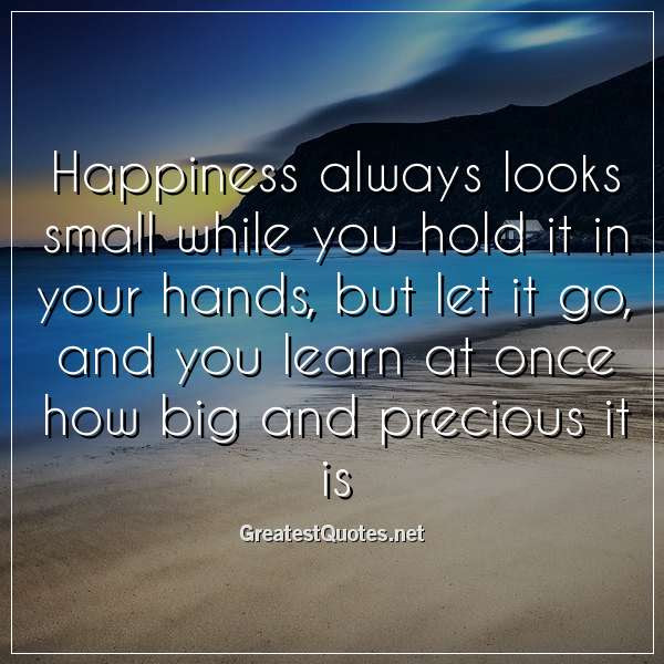 Happiness Always Looks Small While You Hold It In Your Hands But