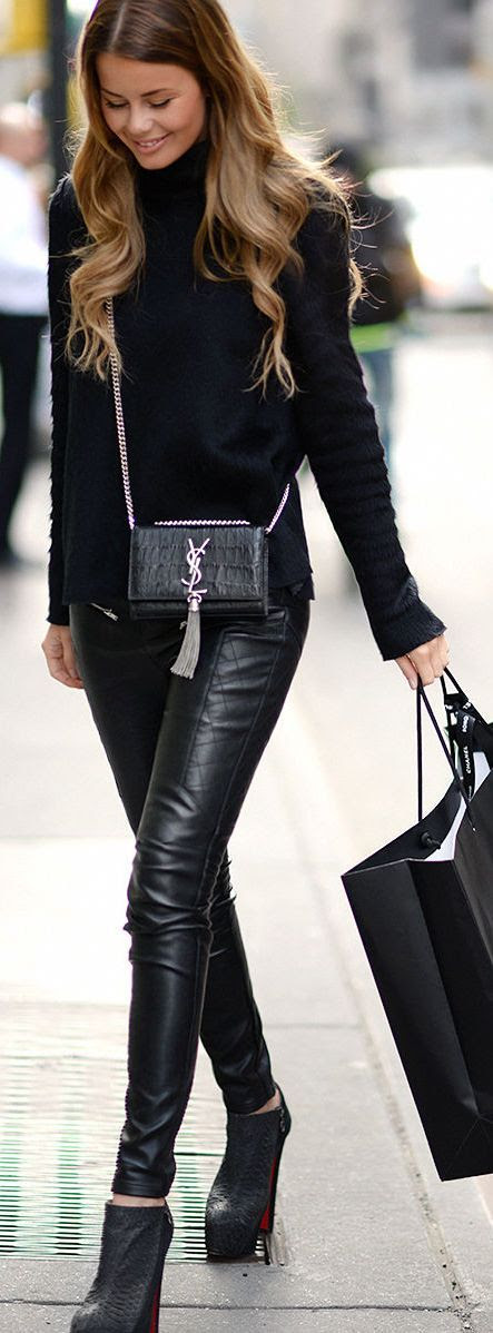 Nelly Black Quilted Leather Pants