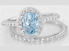 Aquamarine Diamond Halo Engagement Ring with Matching Diamond Band in 14k white gold (GR 1112)