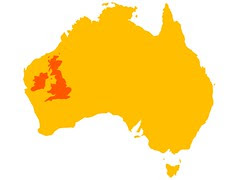 The UK, Ireland and Australia at the same scale
