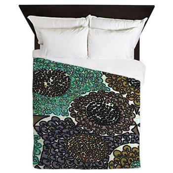 Teal Zinnias Queen Duvet