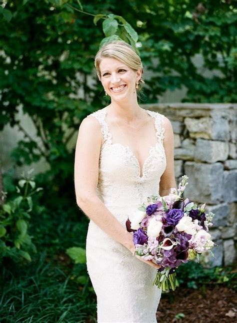 Sophisticated Amethyst   Rose Gold Summer Outdoor Wedding