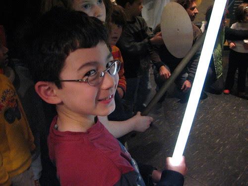 Adam lights the fluorescent bulb