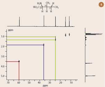 Fig 4 13C-1H COSY spectrum of isoleucine with one dimensional 13C- and 1H-nmr spectra superimposed on horizontal and vertical axes respectively