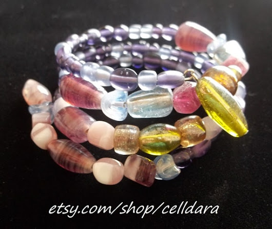 Lavender & Earth-tone Memory Wire Bracelet by CellDara on Etsy