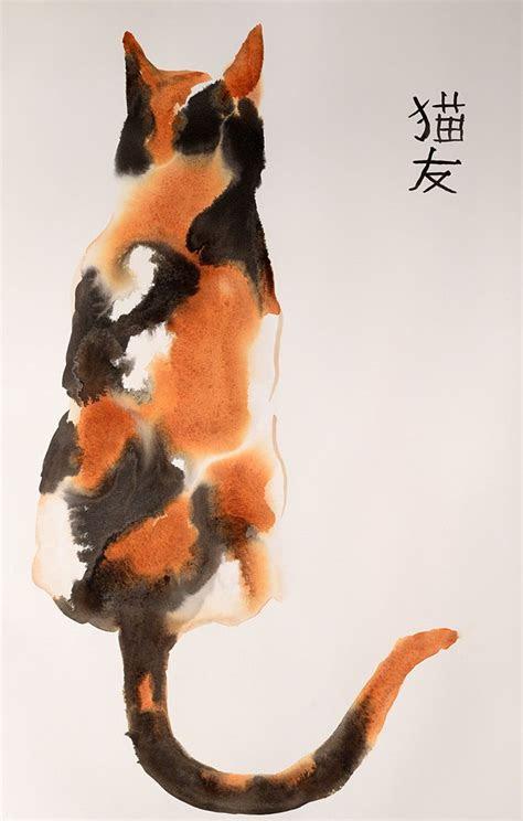 beautiful calico cat original ink  watercolor mixed