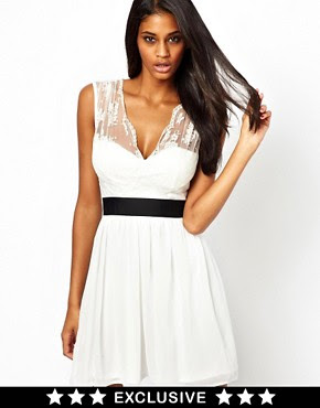 Image 1 ofElise Ryan Skater Dress with Scallop Lace