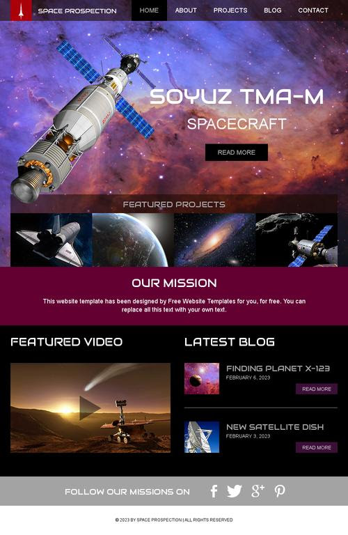 Ready - Space Science Website Template | Free Website Templates