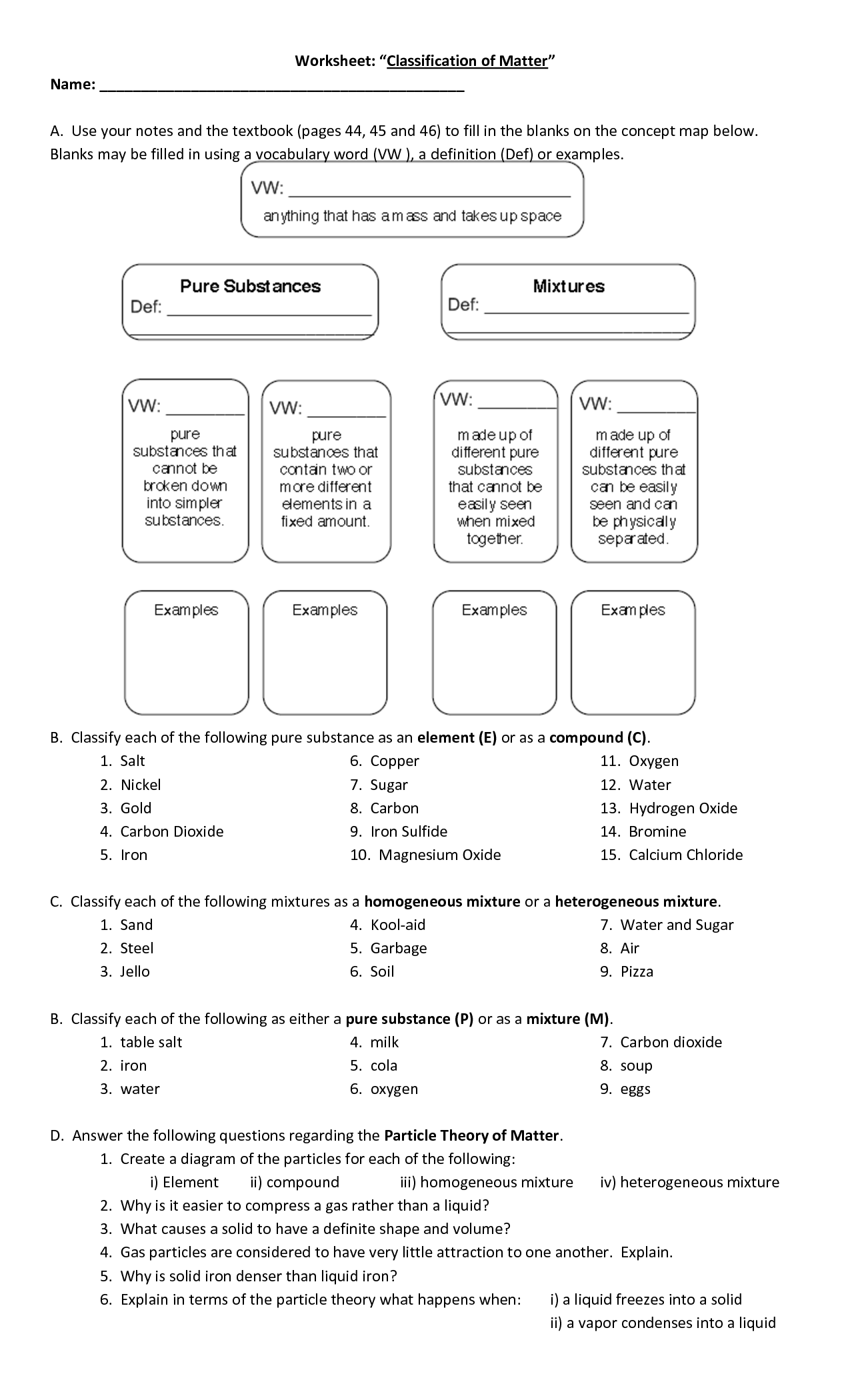 16 Best Images of Classifying Matter Worksheet  Classifying Matter Worksheet Answers