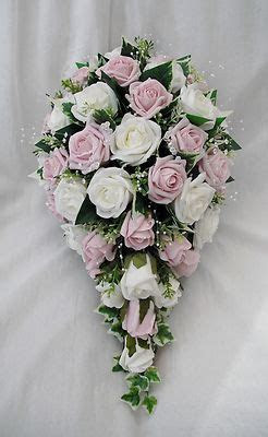 Artificial wedding flowers   brides teardrop bouquet in