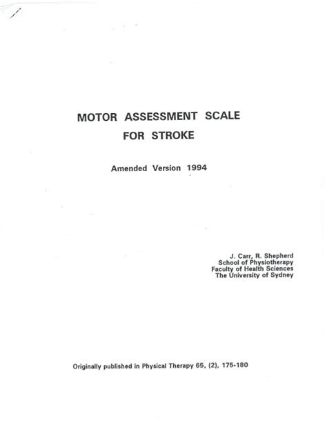 Motor assessment scale testing form