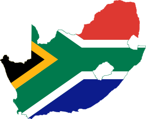Flag-map of South Africa.