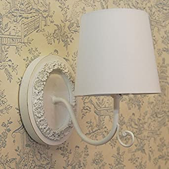 French Country Shabby Chic Style Ivory Oval Wall Light