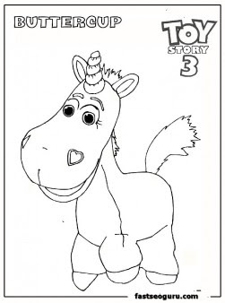 buttercup toy story 3 coloring page for kids - Free ...