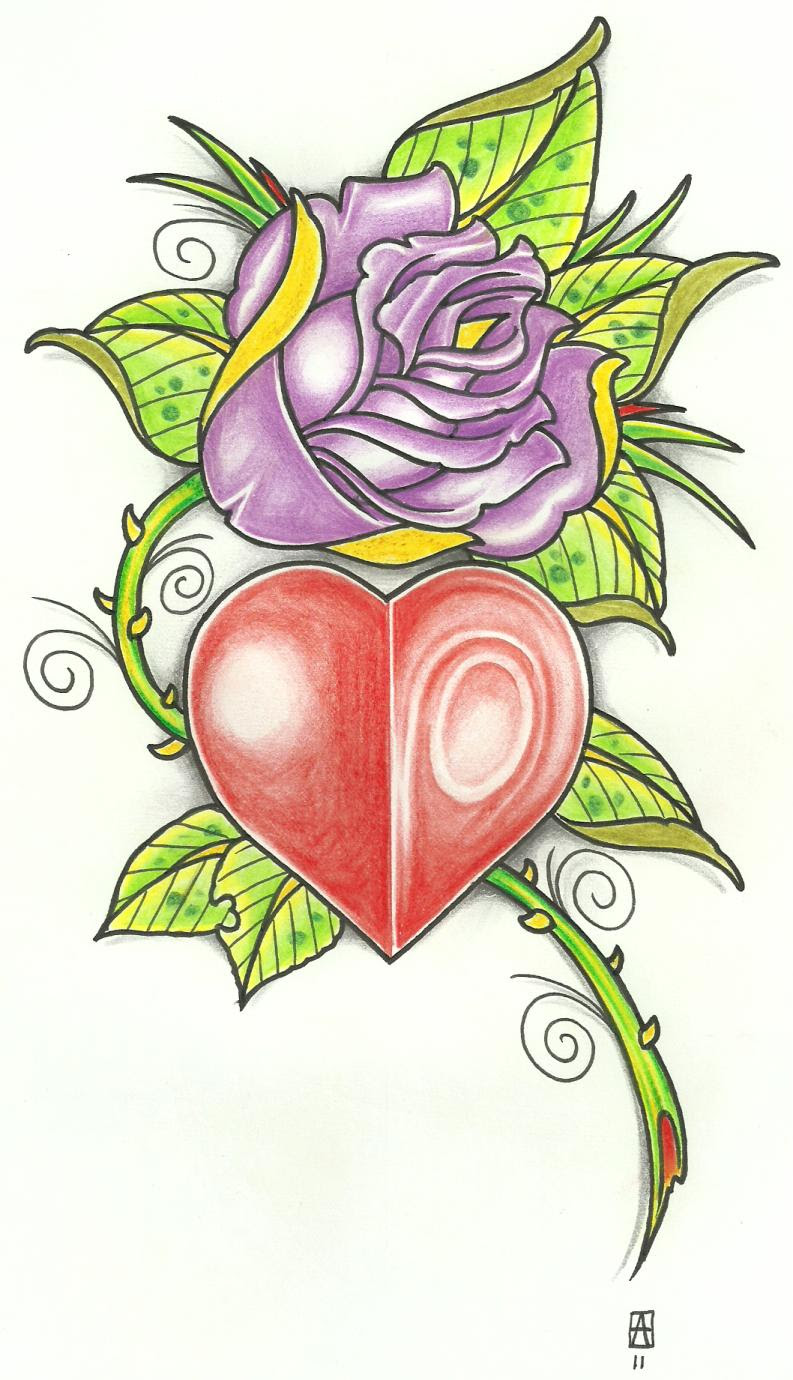 Real Heart And Real Heart And Rose Tattoo Designs Honey