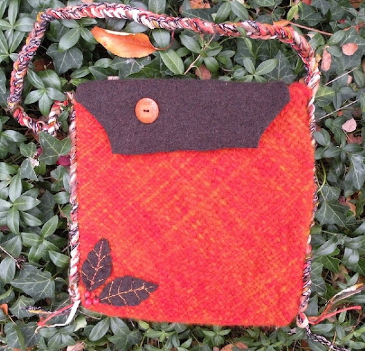 Autumn leaves felted wool handbag Samsung by LifesAnExpedition