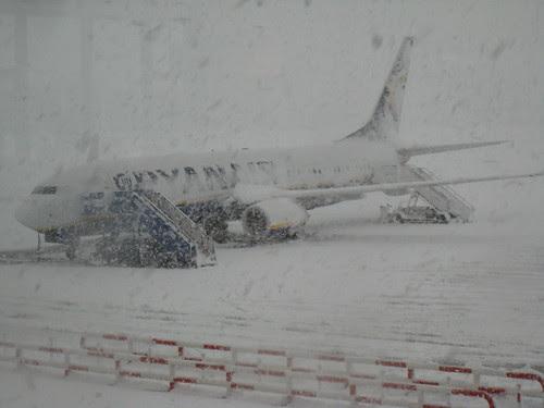 Girona airport during snowstorm