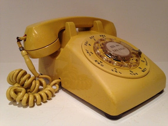 Vintage 1969 Western Electric Yellow Rotary Dial Desk Telephone